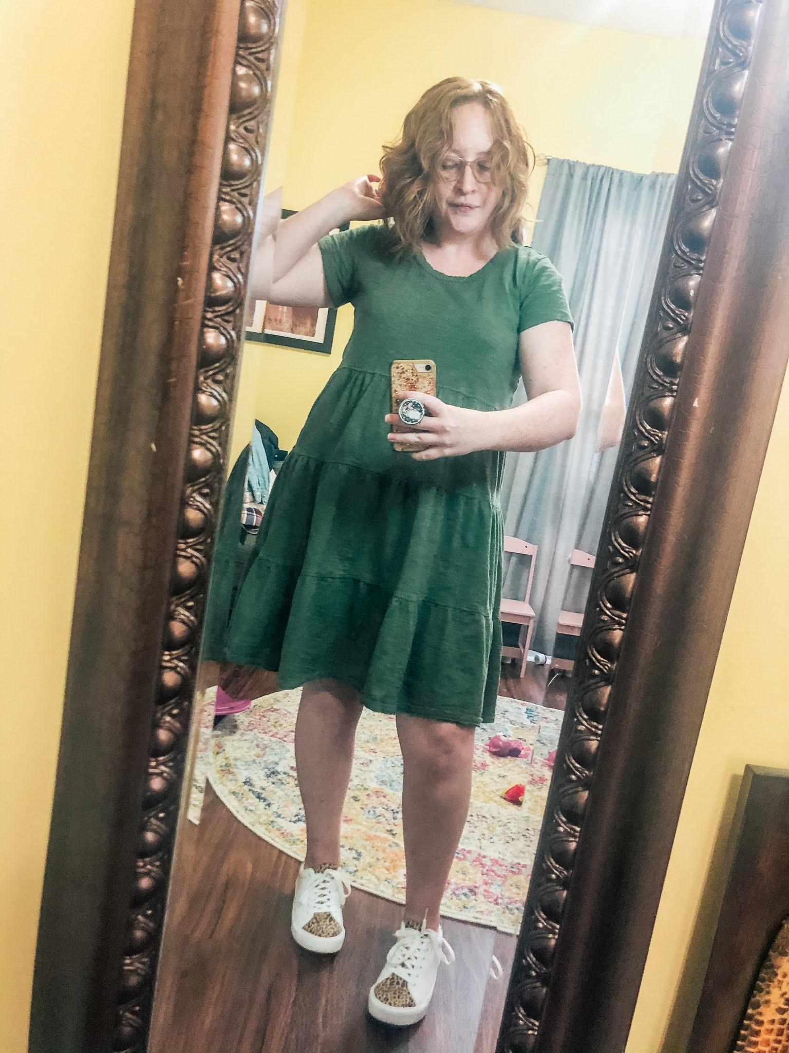 green-tiered-tshirt-dress-leopard-sneakers