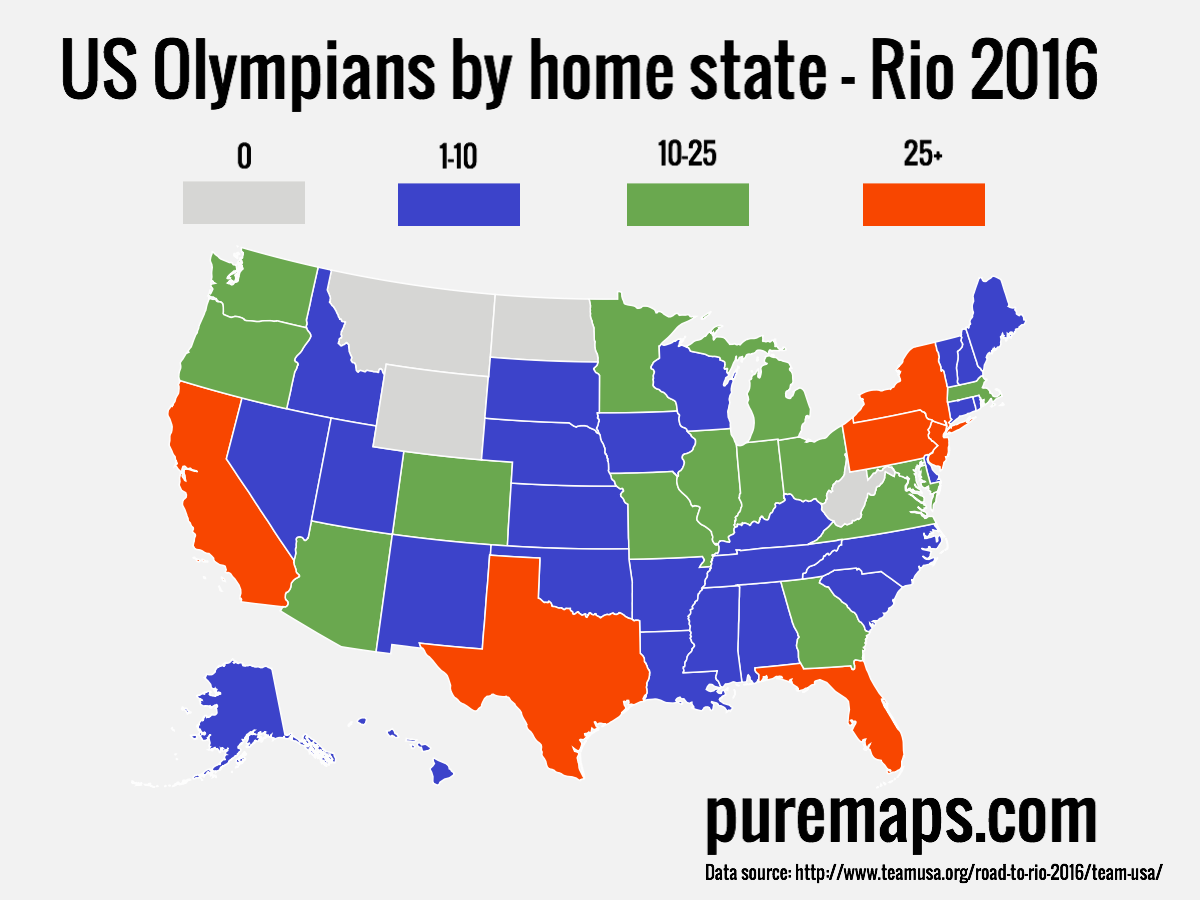 U.S. Olympians by home state (Rio, 2016)