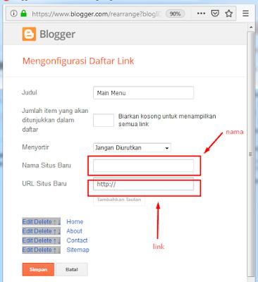 link dan nama sitemap