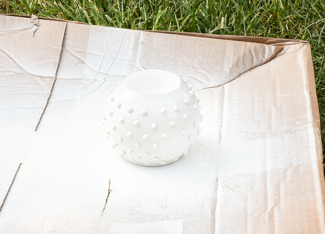 Spray painted DIY hobnail Milk Glass vase