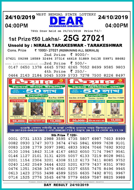 24-10-2019 West Bengal State Lottery Result 04.00 PM-lotterysambadresults.com