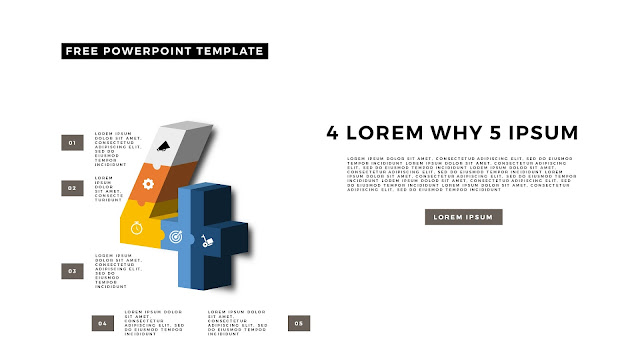 3D Puzzle and Number Infographic Elements for PowerPoint Template Slide 10