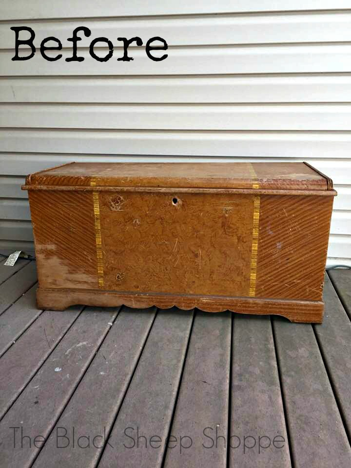 Before photo of Franklin Shockey Company cedar chest.