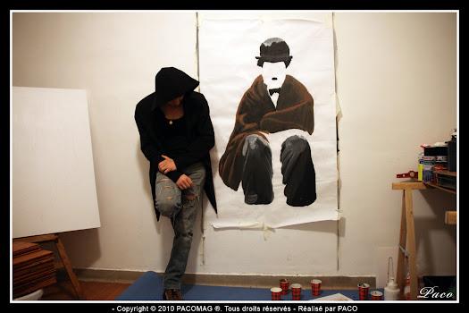 Street art Charlie Chaplin Sedan par Paco