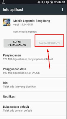 Paksa Berhenti Aplikasi Mobile Legends