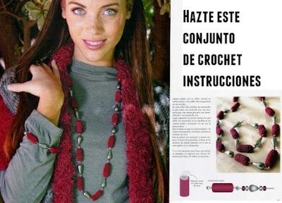 Conjunto pulsera y collar de crochet con vellon