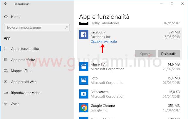 Windows 10 schermata Impostazioni App e funzionalità