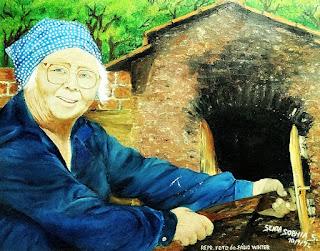 Quadro no Museu Histórico Municipal - Idosa coloca pão em forno de barro