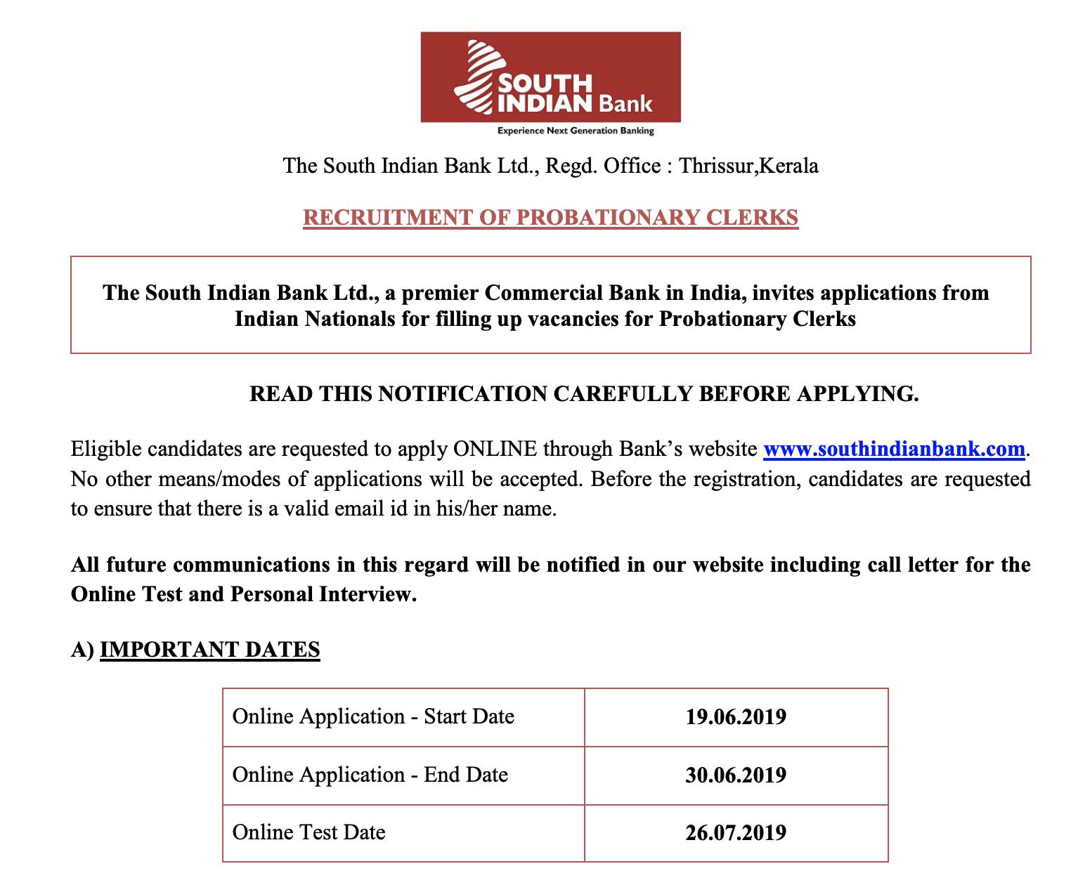 South Indian Bank Probationary Clerk Recruitment 2019, 540 PO SIB