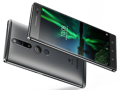 Lenovo Phab2 Pro Specifications - LAUNCH Announced 2016, June DISPLAY Type IPS capacitive touchscreen, 16M colors Size 6.4 inches (~70.9% screen-to-body ratio) Resolution 1440 x 2560 pixels (~459 ppi pixel density) Multitouch Yes BODY Dimensions 179.8 x 88.6 x 10.7 mm (7.08 x 3.49 x 0.42 in) Weight 259g (9.14 oz) SIM Dual SIM (Nano-SIM, dual stand-by) PLATFORM OS Android OS, v6.0 (Marshmallow) CPU Octa-core (4x1.8 GHz Cortex-A72 & 4x1.4 GHz Cortex-A53) Chipset Qualcomm MSM8976 Snapdragon 652 GPU Adreno 510 MEMORY Card slot microSD, up to 256 GB (uses SIM 2 slot) Internal 64 GB, 4 GB RAM CAMERA Primary 16 MP, phase detection autofocus, depth & motion tracking sensors Secondary 8 MP, f/2.2, 1.4 µm pixel size, 1080p Features Geo-tagging, touch focus, face detection, HDR, panorama Video 2160p@30fps NETWORK Technology GSM / HSPA / LTE 2G bands GSM 850 / 900 / 1800 / 1900 3G bands HSDPA 850 / 900 / 1900 / 2100 - EMEA    HSDPA 850 / 1700(AWS) / 1900 / 2100 - USA 4G bands LTE band 1(2100), 2(1900), 3(1800), 5(850), 7(2600), 8(900), 20(800), 38(2600), 40(2300), 41(2500) - ЕМЕА    LTE band 2(1900), 4(1700/2100), 5(850), 7(2600), 12(700), 17(700), 20(800), 30(2300) - USA Speed HSPA, LTE Cat7 300/100 Mbps GPRS Yes EDGE Yes COMMS WLAN Wi-Fi 802.11 a/b/g/n/ac, dual-band, WiFi Direct, hotspot GPS Yes, with A-GPS, GLONASS USB microUSB v2.0 Radio FM radio Bluetooth v4.0, A2DP FEATURES Sensors Fingerprint, accelerometer, gyro, proximity, compass Messaging SMS(threaded view), MMS, Email, Push Mail, IM Browser HTML5 Java No SOUND Alert types Vibration; MP3, WAV ringtones Loudspeaker Yes 3.5mm jack Yes  - Dolby Atmos  - Active noise cancellation with dedicated mic BATTERY  Non-removable Li-Ion 4050 mAh battery Stand-by  Talk time  Music play  MISC Colors Gunmetal Grey, Champagne Gold  - Project Tango - Fast battery charging (Quick Charge) - MP4/H.264 player - MP3/WAV/eAAC+/FLAC player - Photo/video editor - Document viewer