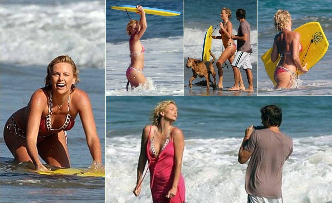 Charlize Theron Stuart Townsend Beach