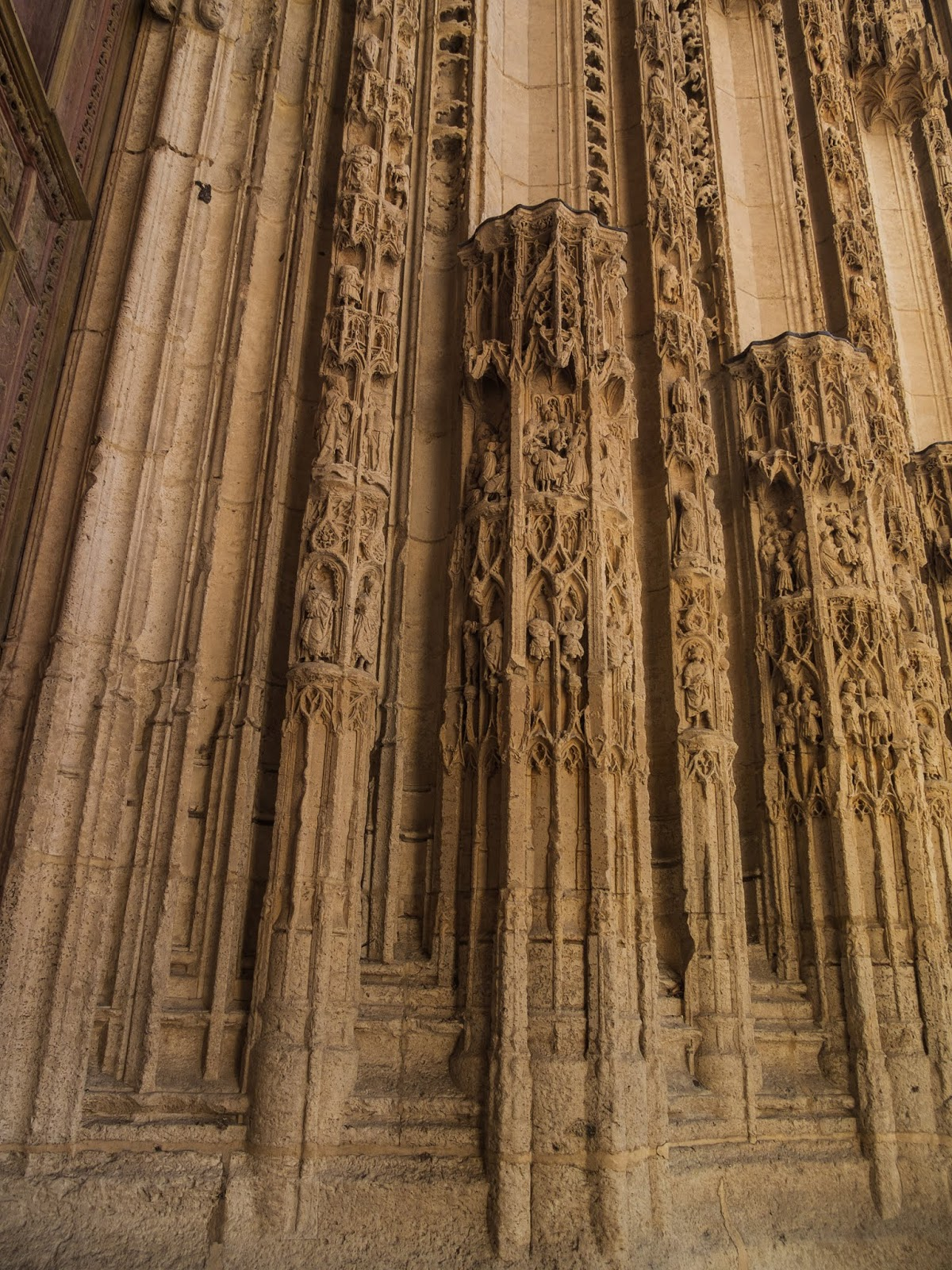 Carvings on the facade of Rouen's Cathedral in Normandy.