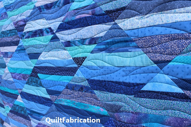 freehand wave quilting on the Seafarer quilt