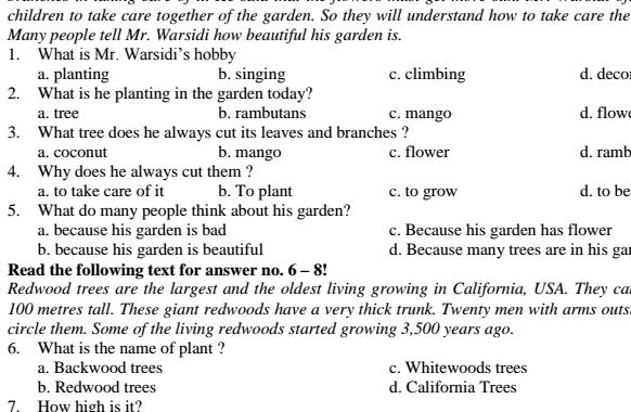 Soal UTS Bahasa Inggris SMP Kelas 8 Semester 1