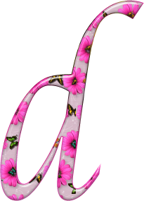 Abecedario de Rapunzel con Flores Rosadas. Rapunzel Alphabet with Pink Flowers.