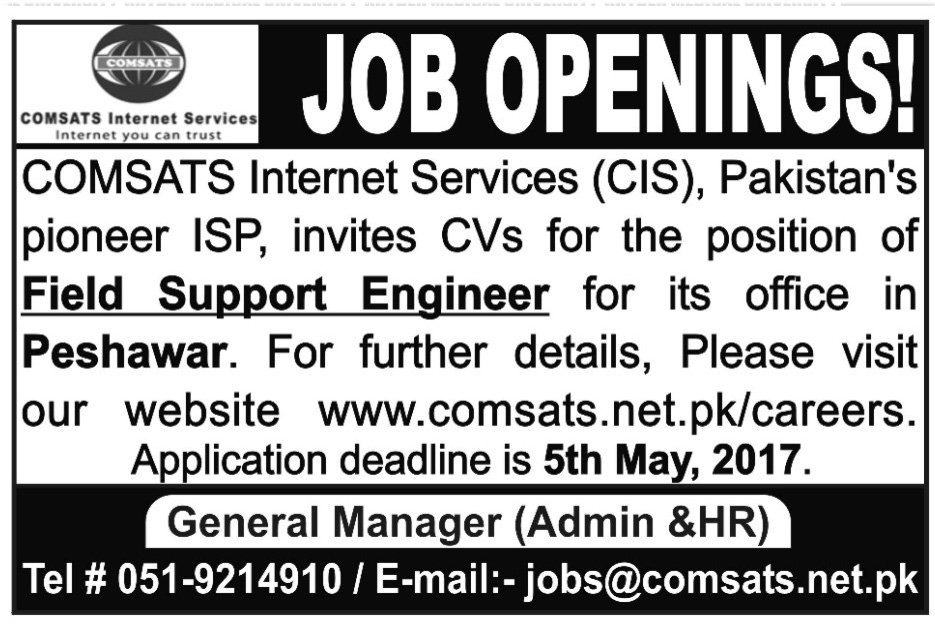 Field support engineer Jobs In Peshawar 29 Apr 2017