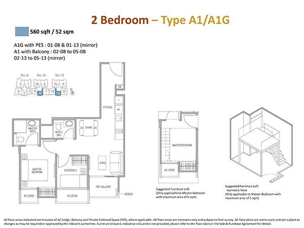 2 Bedrooms Floor Plan