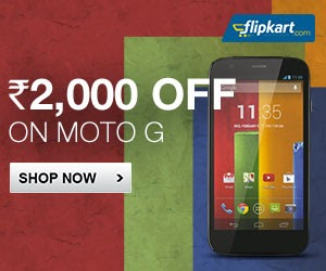 "Flat Rs. 2000 Off on ""Moto G"" Phones (8 gb and 16 gb both models)"