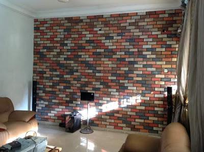 Eco bricks on tv wall