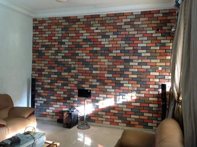 Eco bricks on tv wall