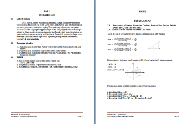 Contoh Makalah Matematika Trigonometri Format Microsoft Word