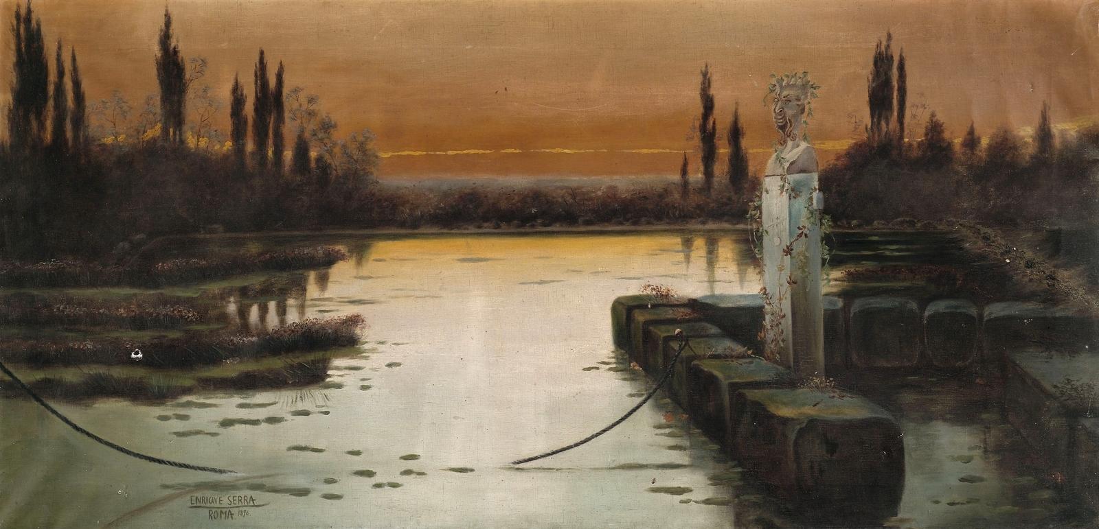 Enrique  Serra  y  Auque  Evening  mood  in  the  Pontine  marshes C