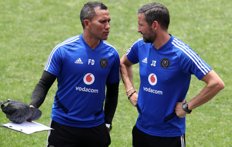 Pirates' assistant coach Fadlu Davids and head coach Josef Zinnbauer