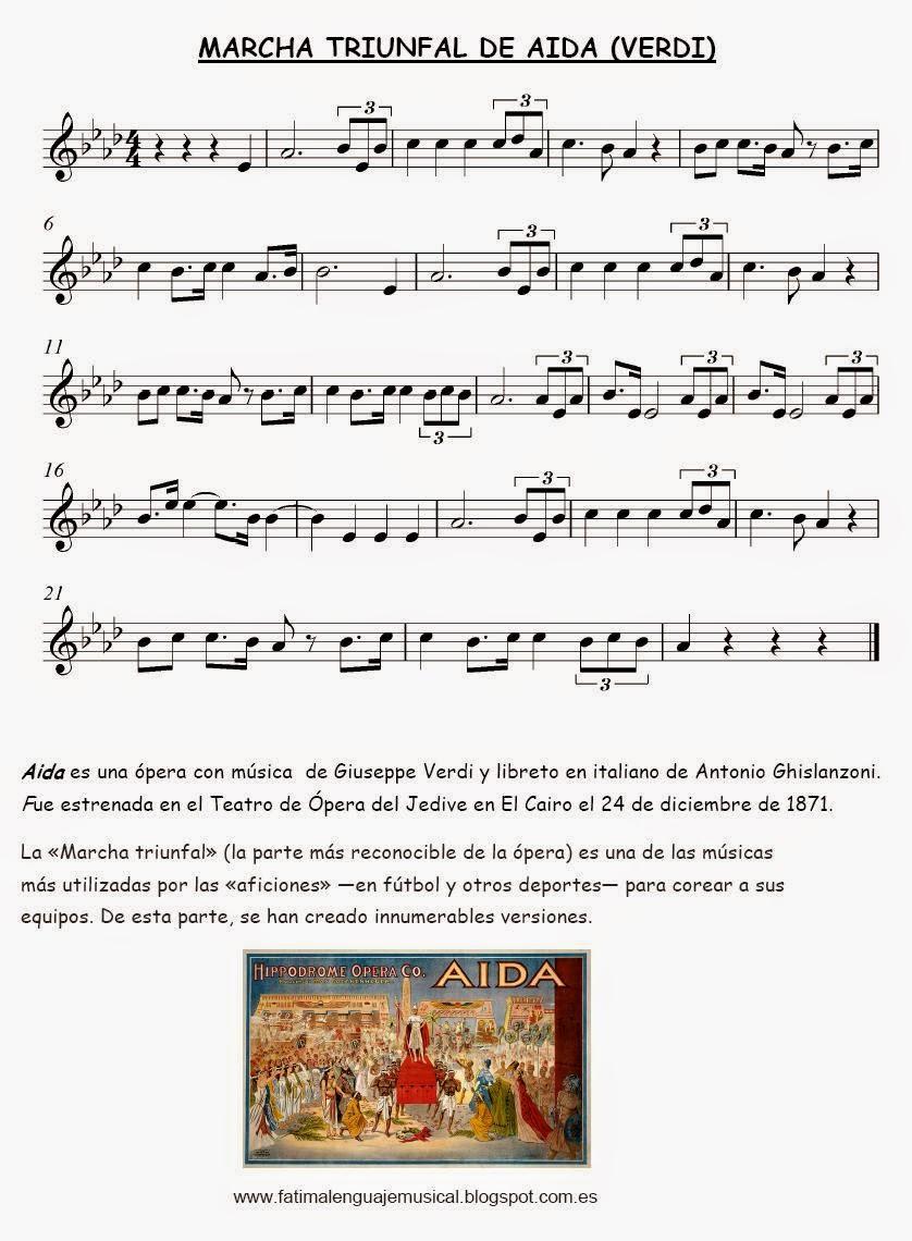 El Lenguaje Musical De Fátima Partitura Para Completar Marcha Triunfal De Aida Verdi