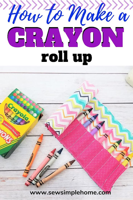 Organize those crayons with this simple fabric crayon holder tutorial and free PDF sewing pattern.
