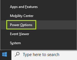 Pengaturan sleep di Windows 10 pada menu Power Options
