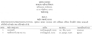 Gujarat Government Holidays List 2020
