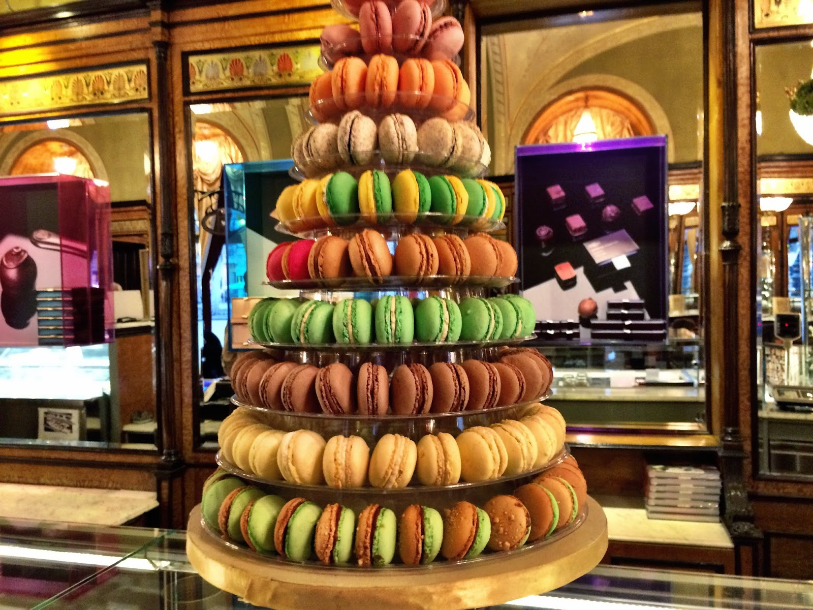 The colourful macaroon tower in Cafe Gerbeaud, Budapest