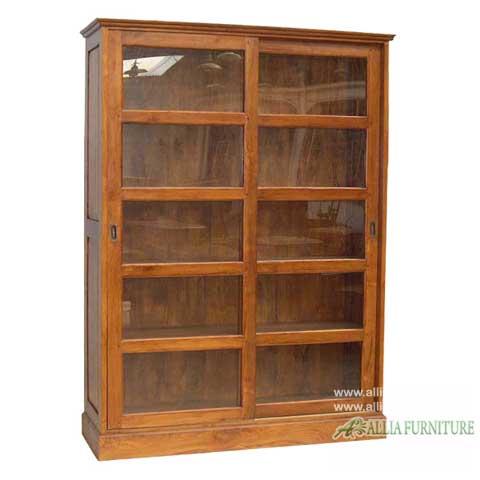 lemari rak piagam kayu jati 2 pintu geser