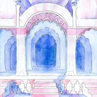 Safdarjung's Tomb watercolor painting