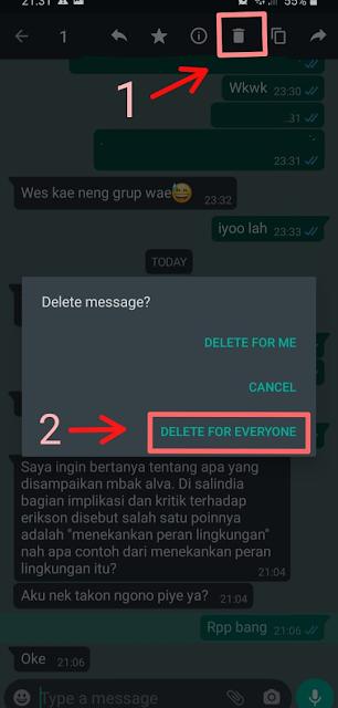 menghapus chat wa di penerima