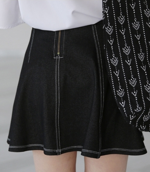 Paneled Contrast Stitch Skirt