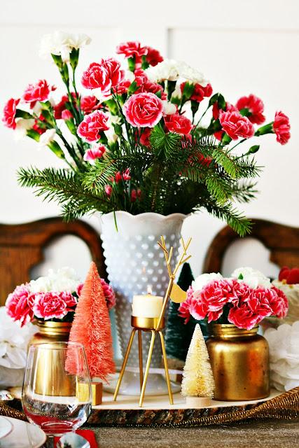 hobnail, milk, glass, vase, wood slice, bottle brush, New Year's Eve, Athomewithjemma