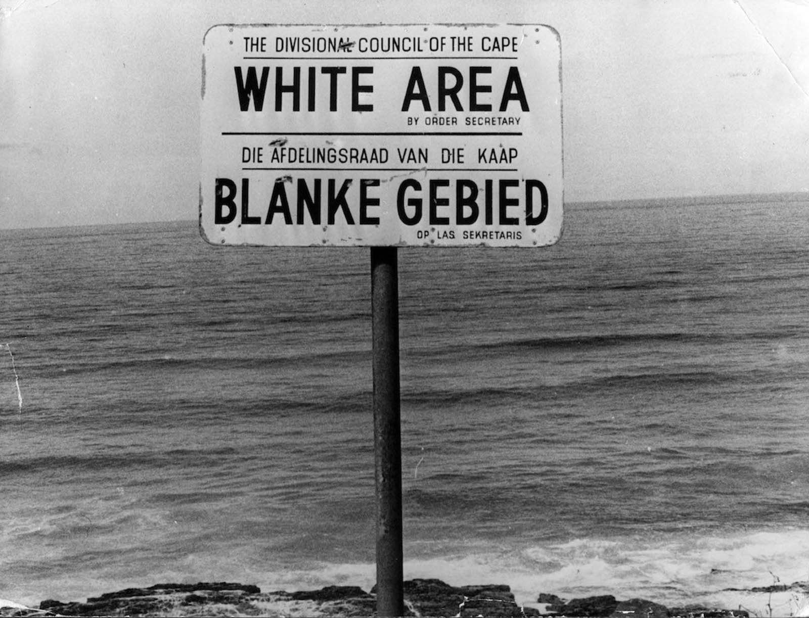 An apartheid notice on a beach near Cape Town. 1976.