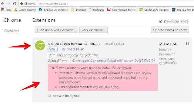 Install ARChon di Google chrome