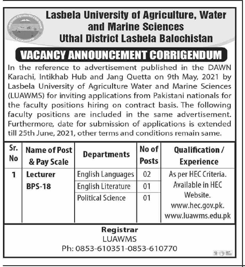 www.hec.goc.pk Jobs2021 - Lasbela University of Agriculture Water and Marine Science Jobs 2021 in Pakistan