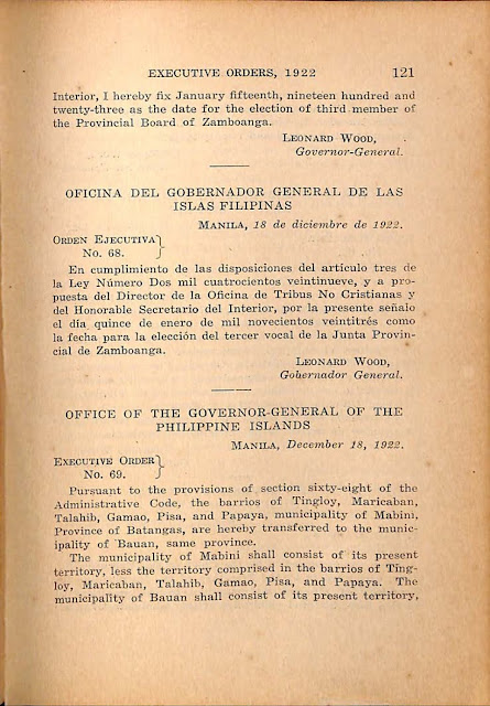 Executive Order No. 69 series 1922 English version.