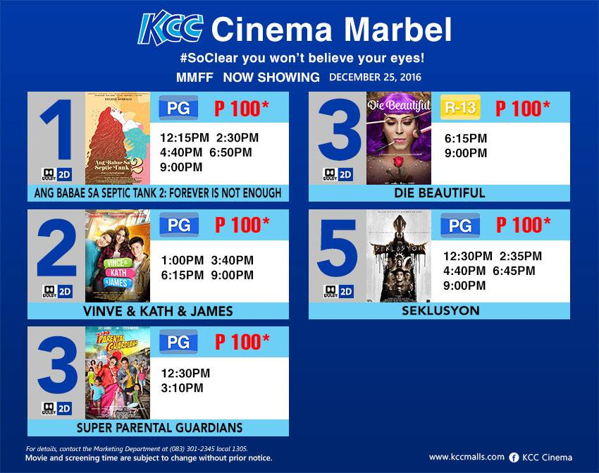 MMFF 2016 entries now showing in cinemas in Koronadal
