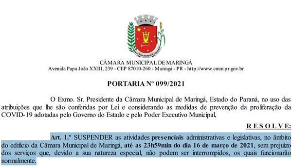 Câmara de Maringá retoma sessões presenciais nesta terça, com restrições