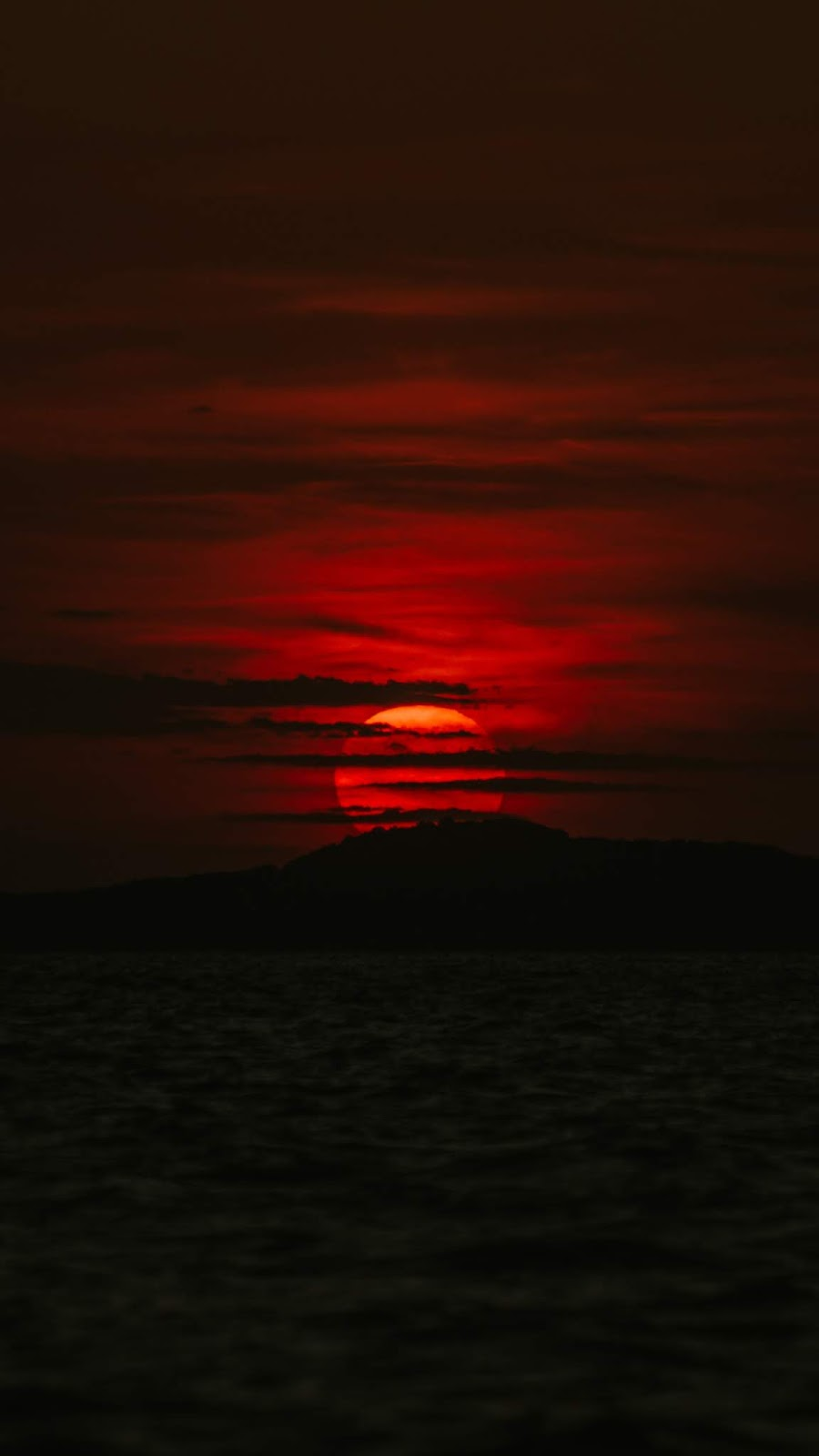 Red sunset in the dark night