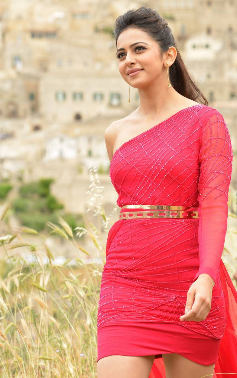 Rakul Preet Stills From Telugu Movie In Red Dress