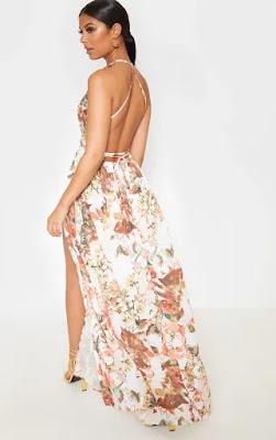 White Floral print chiffon halterneck maxi prom dress back side