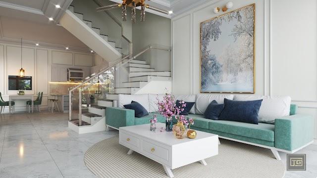 Nội thất nhà phố theo tông trắng nhẹ nhàng và sang trọng