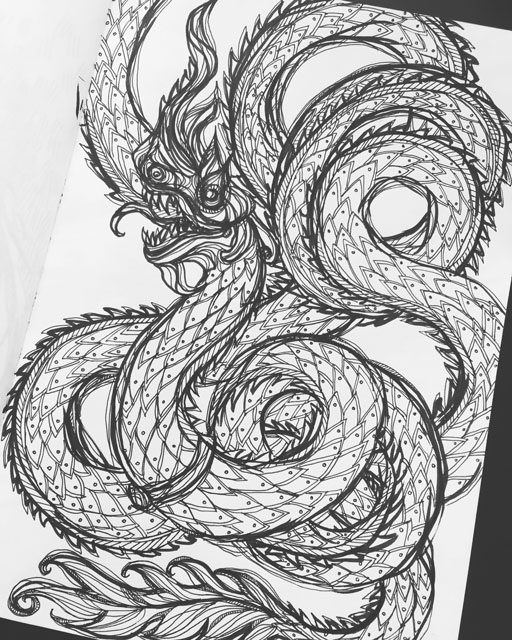 Thai Naga - Erin Clark - Inked in Red