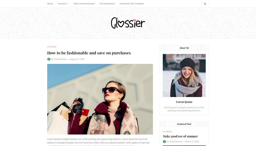 Glossier - Responsive Blogger Template