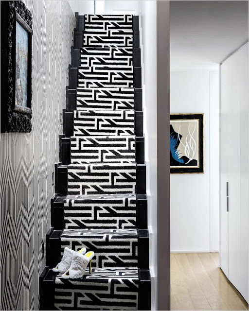 trendy stair carpet black white